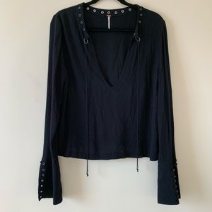 Free People Black Flared Sleeve Top Gold Detail M
